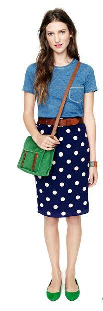 simple tee + dotty skirt