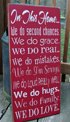 Large Wood Sign In This Home We Do Second by BedlamCountryCrafts, $65.00......Find a saying your love one will love and make yourself, put on wood, coaster, picture frame, dishes, quilt, pillow,apron,or, ect:) Great Gift made with Love