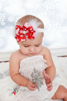 Christmas Headband- Big Boutique Snowflake Feather Rhinestone center Bow with a Soft Stretch Interchangeable headband- holiday- photo prop on Etsy, $9.95