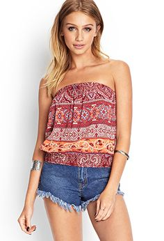 Paisley Floral Crop Top   FOREVER21 - 2000069336