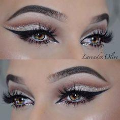 "Glamour with glitter! lavender.olive | <a class=""pintag"" href=""/explore/makeup/"" title=""#makeup explore Pinterest"">#makeup</a>"