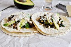 Grilled Corn, Mushroom + Roasted Poblano Tacos with Chipotle Crema I howsweeteats.com