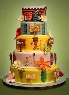 tiki cake, cake idea, cakes, food, citi cake, tiki parti, charm citi, tiki tiki, cake art