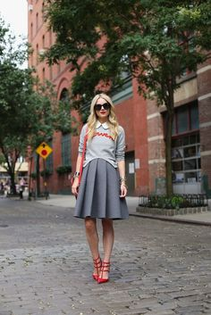street fashion, preppy style, atlantic pacific, skirts, red shoes