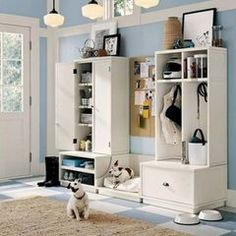 traditional entry mud room storage