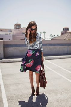 Floral Skirt, Striped Top