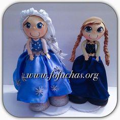 Elsa & Anna fofucha doll caketopper on Etsy, $46.50 #Frozen #fofuchas #elsa & Anna