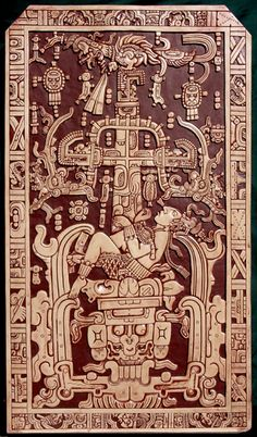 The carved tomb lid of King Pacal c. 684 AD. He's riding a rocket.
