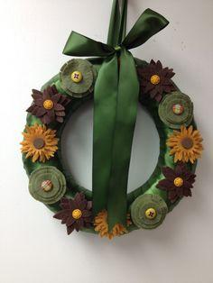 wreath wreaths flowers flower buttons felt ribbon  autumn fall holiday etsy pairofpetals
