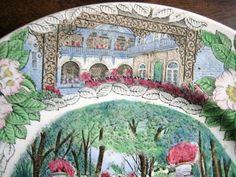 Decorative Dishes - Transferware Green Pink Blue Alabama Gardens Vintage Souvenir Plate England, $34.99 (http://www.decorativedishes.net/transferware-green-pink-blue-alabama-gardens-vintage-souvenir-plate-england/) souvenir plate, vintag souvenir, blue alabama, pink blue