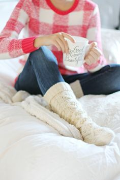 Warm knitted socks and super comfy sweater.