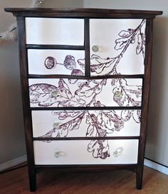 Painted Oak Leaf dresser  DIY   from The Graphics Fairy craft, furnitur project, fairies, trunk, graphics fairy, graphic fairi, dressers, leaves, diy