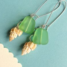 $8.00 Sea Shells and Sea Glass earrings on French wires by MimiJewels on Etsy----my very favorite vendor.  :)
