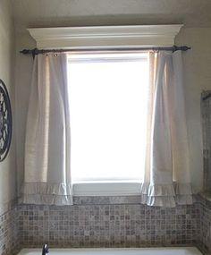 dropcloth ideas, window curtains, ruffl, bathroom curtains, curtain rods, kitchen curtains, diy curtains, curtains drop cloth, bathroom windows
