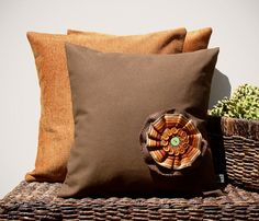 "14"" PILLOW COVER - Autumn Brown Burlap Button Flower - Pumpkin Orange - Chocolate Brown by JillianReneDecor (FEATURED in Etsy Finds)"