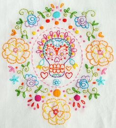 sugar skull embroidery