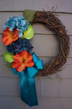 Spring Summer Grapevine wreath door decoration