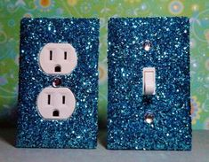 SET of Chunky LIGHT BLUE Glitter Switch Plate / Outlet Covers ANY STYL switch plates, plate crafts, kid rooms, outlets, bedroom crafts for teens, outlet covers, girl rooms