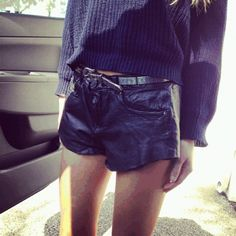 black. sweater and great shorts.