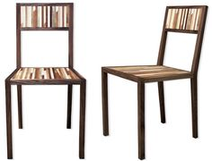 Junk scrap wooden chairs made from repurposed wooden boards & timber strips.