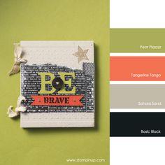 Stampin' Up! Color Combo: Pear Pizzazz, Tangerine Tango, Sahara Sand, Basic Black #stampinupcolorcombos