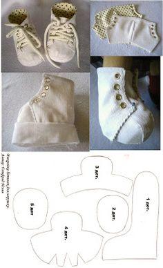 Bambole waldorf di stoffa - waldorf dolls : shoes tutorial
