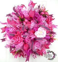 Deco Mesh Summer Wreath Hot Pink Light Pink Black White Door Wreath by www.southerncharmwreaths.com $101.87