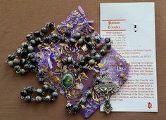 Black Silk Stone Pardon Cross Rosary by MimisRosaries on Etsy