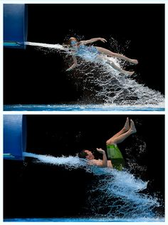 """In her series """"I Love Summer,"""" photographer Krista Long captures that wonderful moment when people are jettisoned from the end of a water slide."""