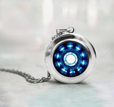 Iron man necklace Heart Arc reactor locket on Etsy, $18.00 @Lauren Davison Davison Davison lucas you need this I appreciate the lie you have for Marvel, much like mine