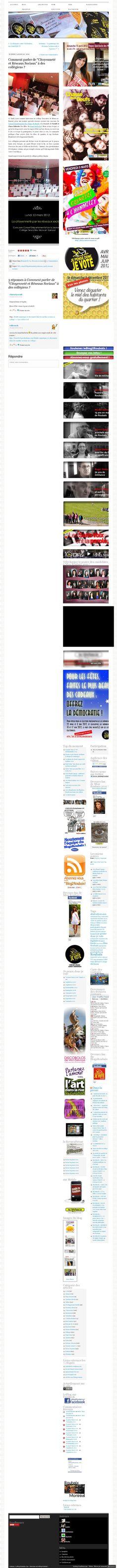 Le retour du Blog de Roubaix de sur son intervention  http://leblog2roubaix.com/2012/03/13/comment-parler-de-citoyennete-et-reseaux-sociaux-a-des-collegiens/