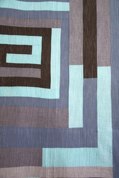 """Detail, Gee's Bend in blues quilt - quilted every 1/4"""" with vertical lines.  Seen at Anacraftsbcn"""