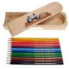 Personalised White Tractor Pencil Case with Pencils