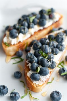 grilled ciabatta. ricotta cheese, fresh blueberries, organic honey and mint