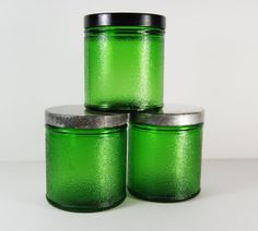 Heavy Green Glass Jars