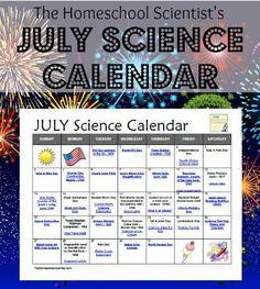 July Science Calendar - TheHomeschoolScientist.com