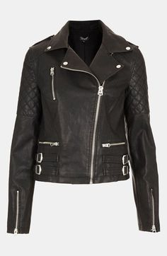 Topshop 'Wylde' Faux Leather Biker Jacket available at #Nordstrom
