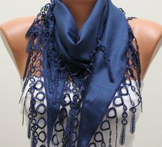 Navy  Blue Scarf  Pashmina  Scarf   Headband Necklace by fatwoman, $13.50. need to get this!!