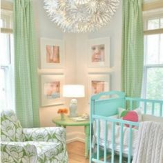 I love this baby room.  No I'm not pregnant!  Just a pretty room.