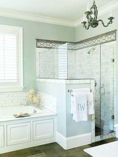 Walk-in Shower wall colors, glass doors, shower doors, chandeliers, tile, tub, master bathrooms, master baths, light