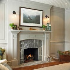 pretty fireplace and paneling