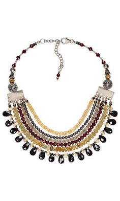Multi-Strand Necklace with Gemstone Beads and Metal Beads