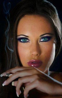 Girl Smoking Blue Eyes