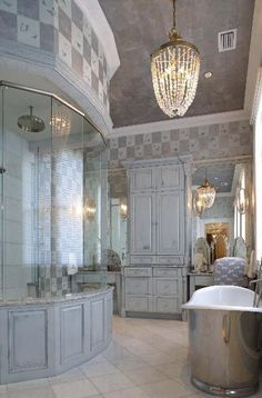 master bath with rounded shower