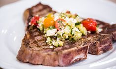 Home & Family - Recipes - Cristina Cooks Grilled T-Bone Steaks With Greek Salsa | Hallmark Channel