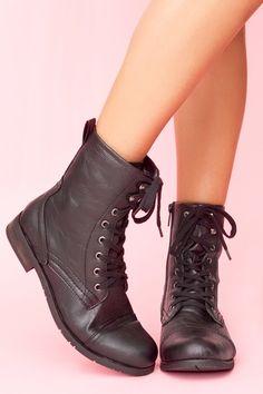 black combat boots.