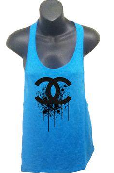 Chanel Splatter Logo Womens Burnout Tank in Blue