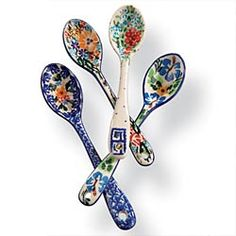 Hand-Painted Polish Pottery Spoons - Set of 4