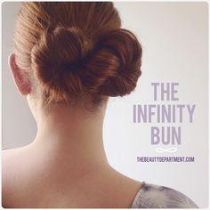 """Our """"Infinity Bun"""" on thick auburn hair!"""