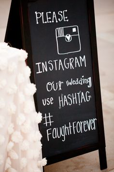 Instagram Hashtag Wedding Sign -- See more on #SMP here: http://www.StyleMePretty.com/2014/04/30/black-white-blush-seaside-wedding/ Photography: Ashlee Raubach Photography - www.ashleeraubach.com